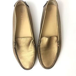 M. Gemi The Felix Gold Shimmer Driving Loafers